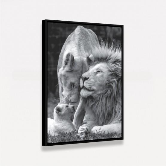 Quadro Decorativo Família de Leões Preto e Branco
