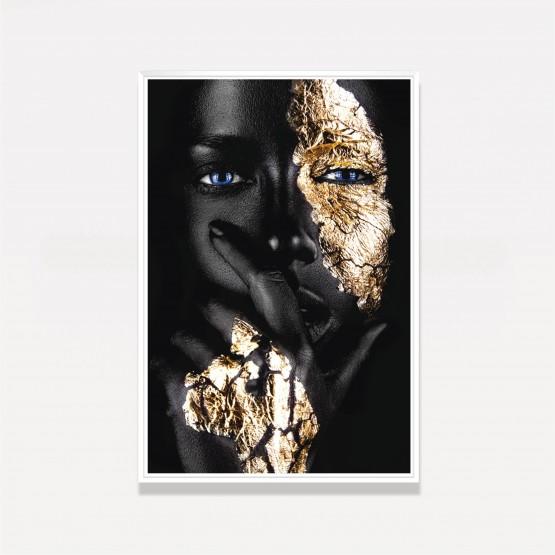 Quadro Mulher Negra Decorativo Fashion Moderno Detalhes Dourados