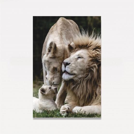 Quadro Leão Família Unida em Arte
