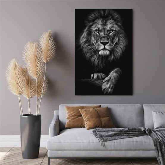 Quadro decorativo Leão o Rei dos Animais Preto & Branco