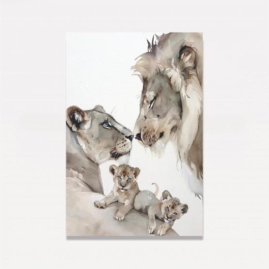 Quadro Decorativo Casal de Leões e Filhotes