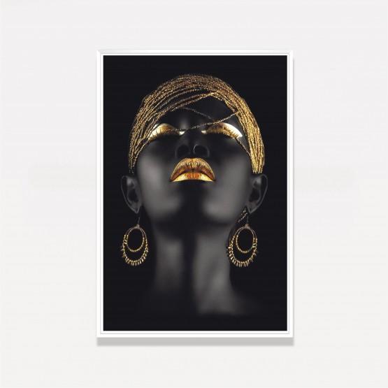 Quadro Mulher Negra Fashion Golden Moderno