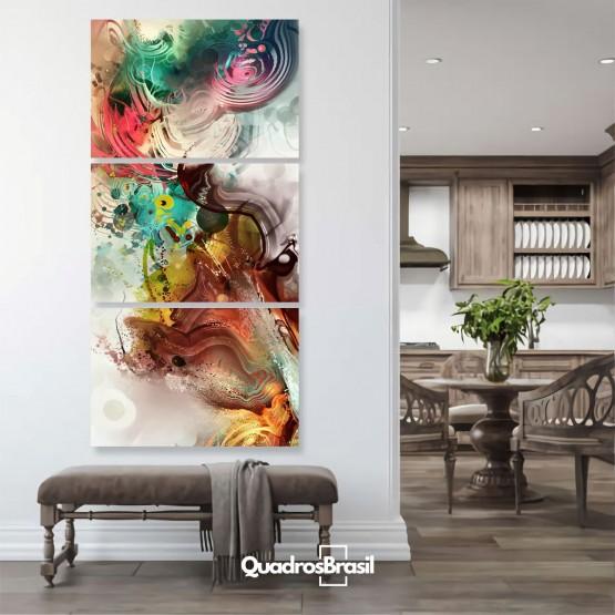 Quadro Abstrato Decorativo Mosaico Vertical Sala Hall Quarto
