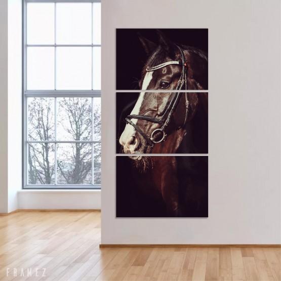 Quadro Decorativo Cavalo Mosaico Vertical Corredor Recepção