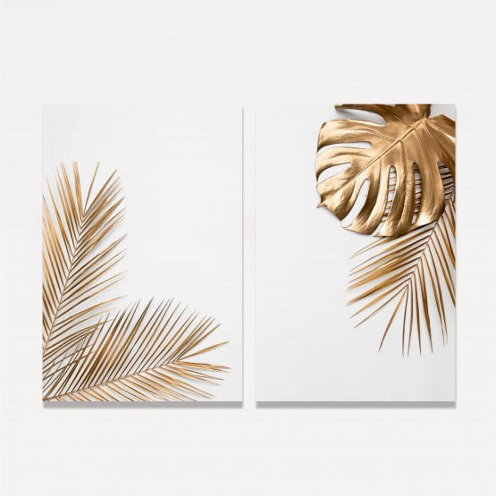 Quadros decorativos Folhas Douradas Duo Clean - 2 Peças