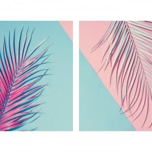 Quadro Folhagem Duo Tropical Minimalista Rosa & Azul