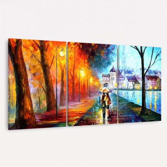 Quadro decorativo Abstrato em Arte 3 Peças - Couple in Love