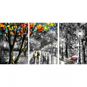 Quadro Abstrato Artístico - Sonhos - Colorful Details - 3 Peças