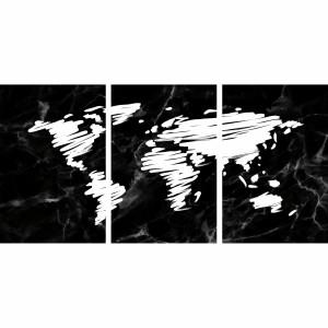 Quadro Mapa Mundi Marmorizado Preto Pinceladas Brancas