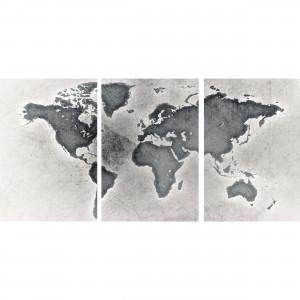 Quadro Mapa Mundi Efeito Prata Envelhecida - 3 Peças