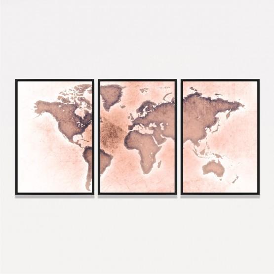 Quadro Mapa Mundi Efeito Envelhecido Couro