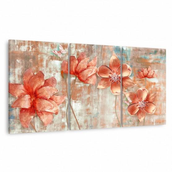 Quadro Flores Rose Gold Artístico Abstrato Decorativo