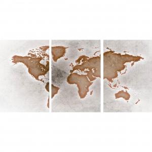 Quadro Mapa Mundi Efeito Arte Envelhecida - 3 Peças