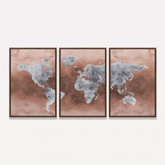 Quadro Mapa Mundi Efeito Couro Marrom - 3 Peças