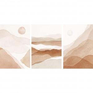 Quadros Abstratos Tons de Terra - Kit Arte Montanhas Natureza