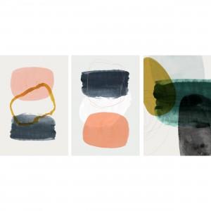 Quadros Abstratos Moderno Set Watercolor decorativo