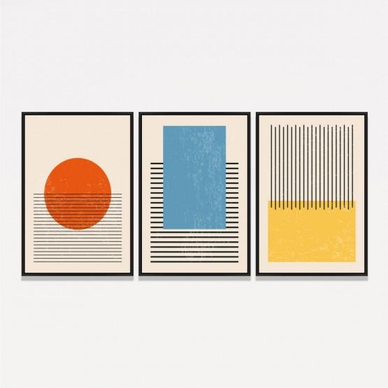 Quadros Abstratos Trio Formas Minimalista decorativo