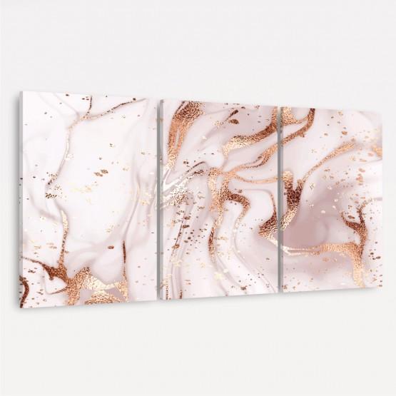 Quadro Abstrato em Arte Mármore Rosa e Ouro Luxo