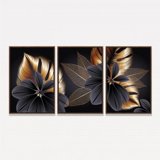 Quadro Flores Douradas Modernas - Luxury Floral Set