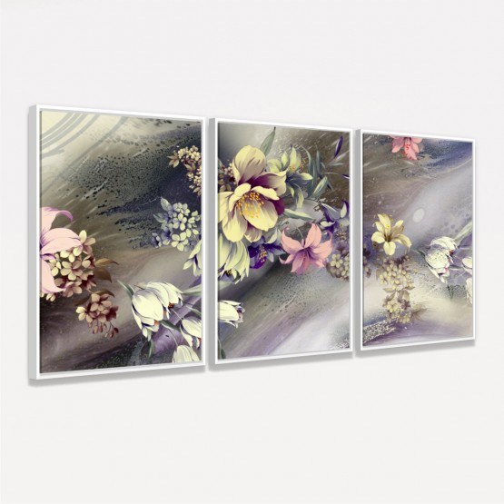 Quadro Abstrato Buquê de Flores Artístico Botânico