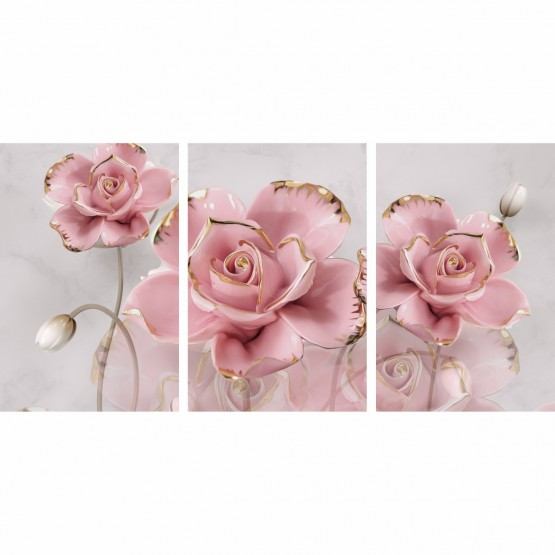Quadro Flores em Rosa Artístico Detalhes Dourados