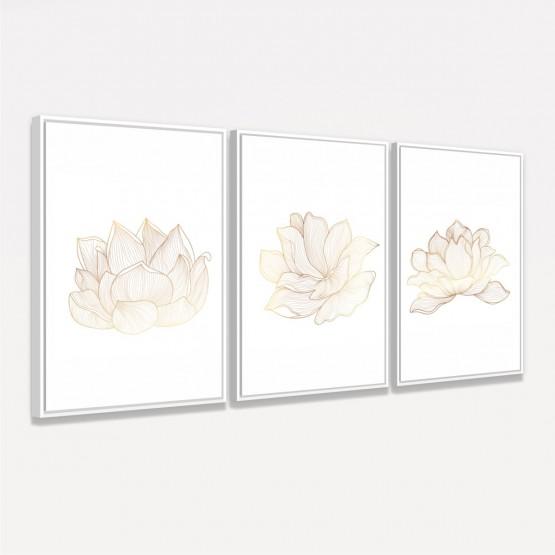 Quadros Flores de Lótus Trio Clean decorativo - 3 Peças