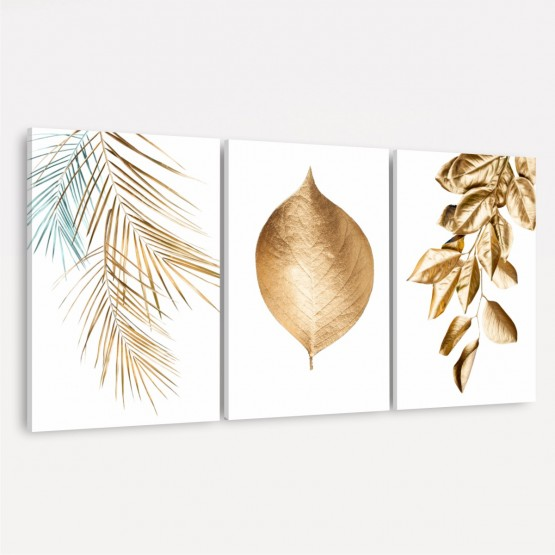 Kit Quadros Folhas Douradas Moderno - Golden Leaves On White