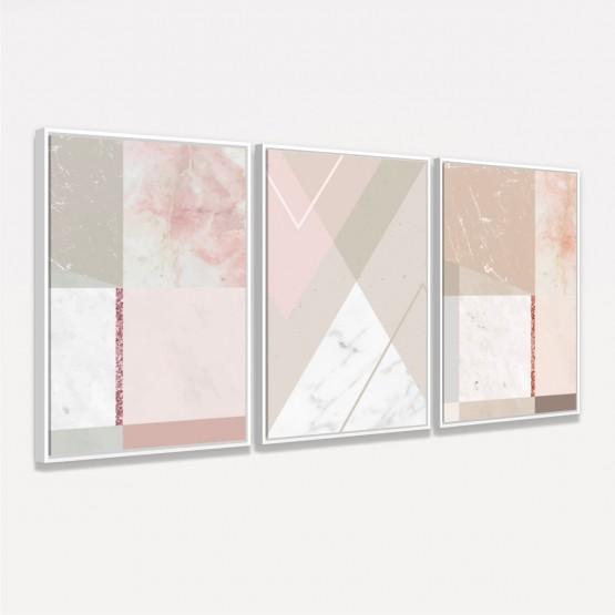 Quadros Abstratos Kit Geométrico decorativo - 3 Peças