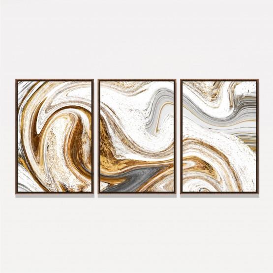 Quadro Abstrato Efeito Mármore Espiral Dourado e Cinza