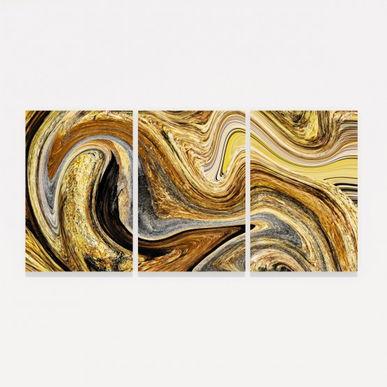Quadro Abstrato Efeito Mármore Dourado Espiral - 3 Peças
