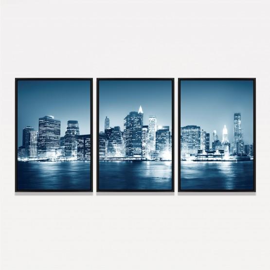 Quadro Nova York Cidade Noturna - 3 Peças
