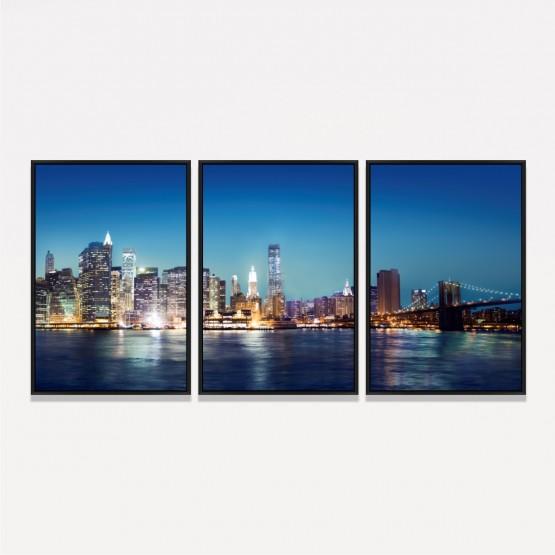 Quadro Nova York Noturna decorativo - 3 Peças