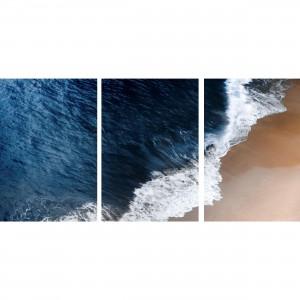 Quadro Areia Mar Praia Paisagem decorativo em 3 Peças