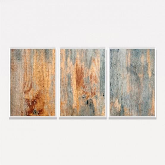Quadro Abstrato Design Madeira Rústica