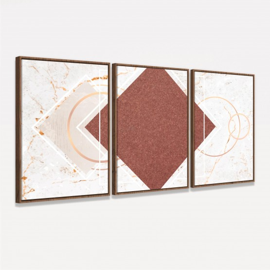 Quadro Abstrato Geométrico Elegante Efeito Mármore - 3 Peças