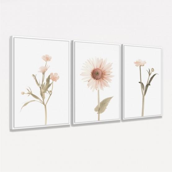 Quadros Flores Conjunto Floral Botânico 3 Peças - Delicate Sunflower