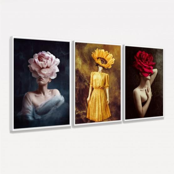 Quadro Mulheres em Arte - Set Womens With Flowers