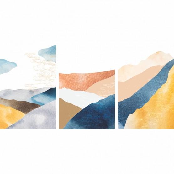 Quadro Abstrato Paisagem Montanhas Oriental Pattern - 3 Peças