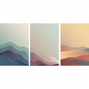 Quadro Abstrato Trio Montanhas Moderno - Oriental Pattern - 3 Peças