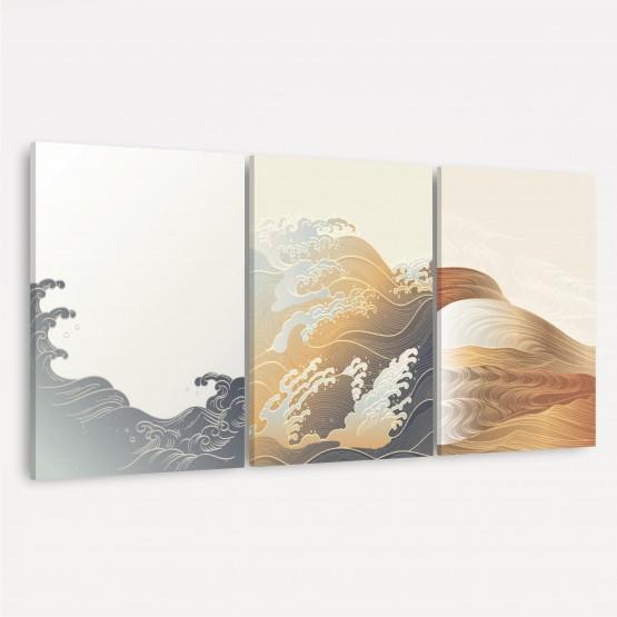 Quadro Abstrato Trio Ondas Moderno - Oriental Pattern - 3 Peças