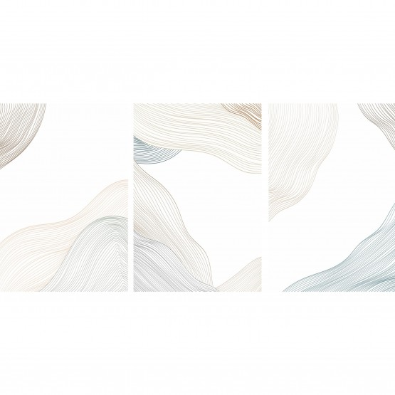 Quadro Abstrato Linhas Vintage Oriental Pattern - 3 Peças