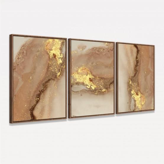 Quadro Trio Luxo Abstrato Marmorizado Marrom Detalhes Dourados