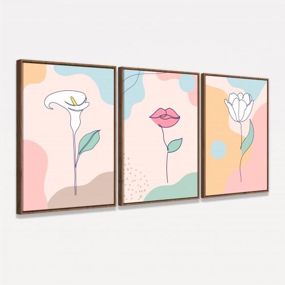Quadro Abstrato Conjunto Flores Boca Art Minimalista - 3 Peças