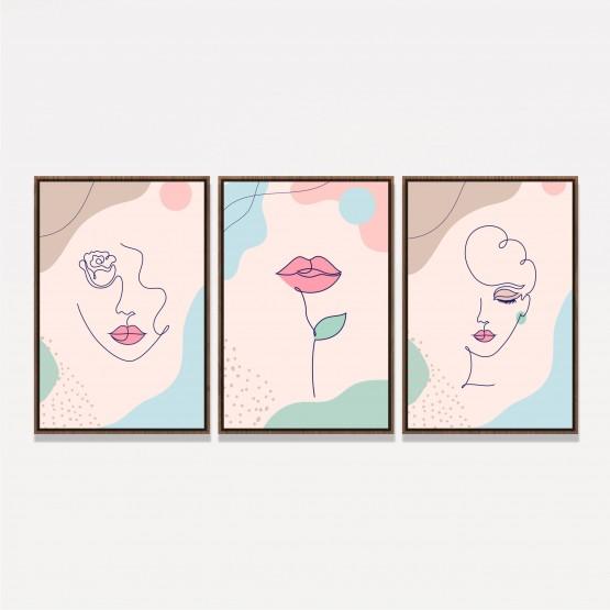 Quadro Abstrato Conjunto Traços de Mulher Delicados - 3 Peças