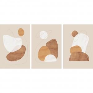 Quadros Abstratos Trio Aquarela Minimalista - Tons Pasteis Bege e Marrom
