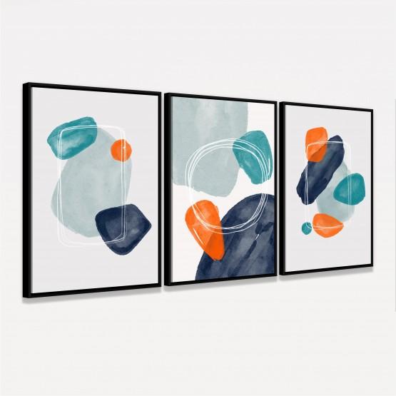 Quadros Abstratos Trio de Arte Moderna - Scribbles and Shapes