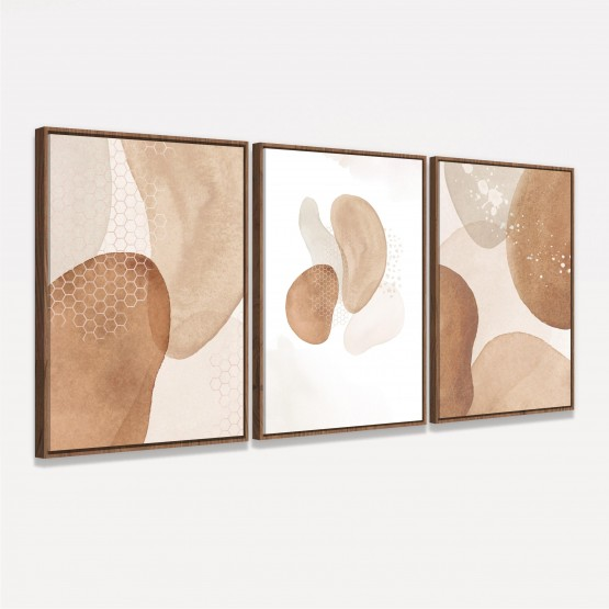 Quadro Abstrato Trio Terracota decorativo - Tons de Bege e Marrom