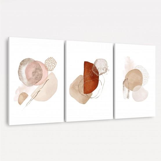 Quadro Abstrato Trio Elegance Terracota - Tons de Bege e Marrom Sobre Branco