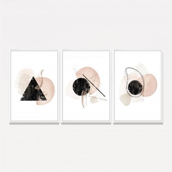 Quadros Abstrato Trio Arte Moderna Composição Tons Bege com Preto
