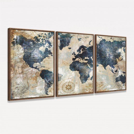 Quadro Mapa Mundi Vintage Envelhecido